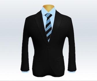 ブラックスーツとストライプネクタイの着こなし