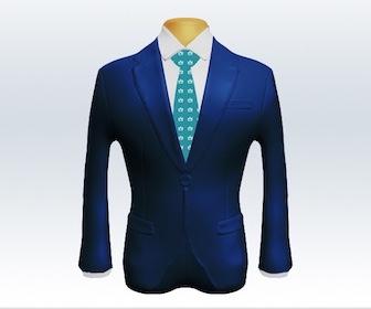 ライトネイビースーツと小紋柄ネクタイの着こなし