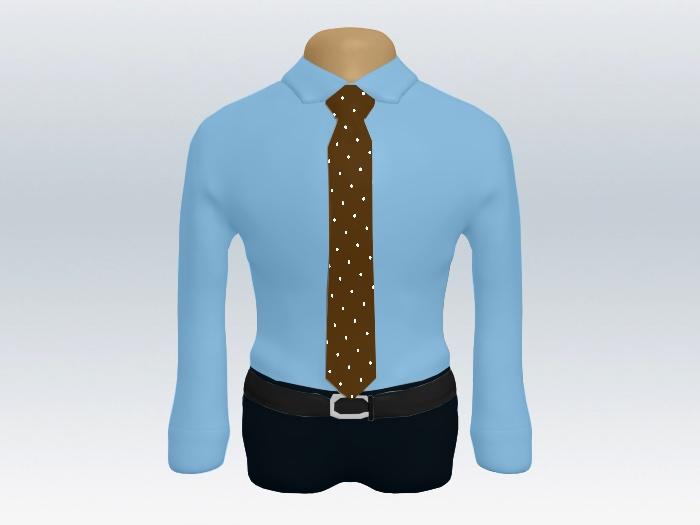 青ワイシャツ茶色ドットネクタイ