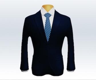 ダークネイビースーツとストライプネクタイの着こなし