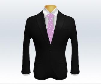 ブラックスーツとドット柄ネクタイの着こなし