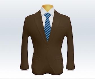 ブラウンスーツとストライプネクタイの着こなし
