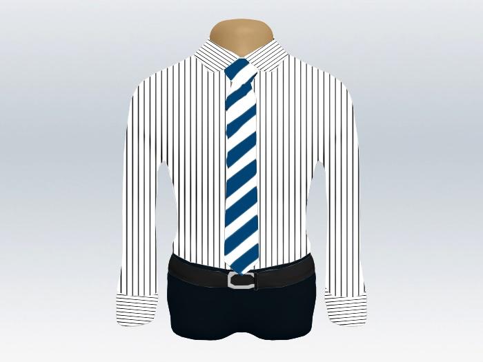 ストライプシャツ青白ストライプネクタイ