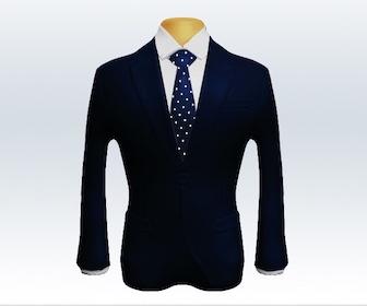 ダークネイビースーツとドット柄ネクタイの着こなし