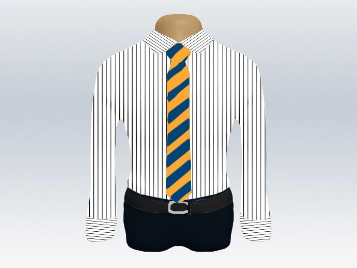 ストライプシャツ青黄色ストライプネクタイ