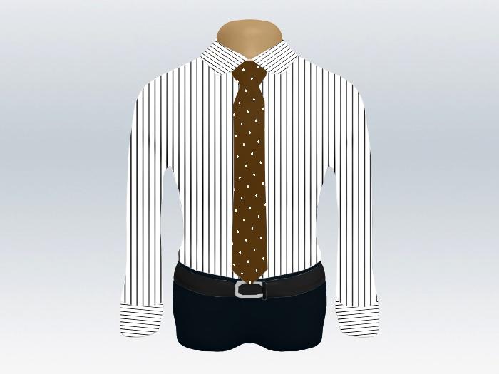 ストライプシャツ茶色ドットネクタイ