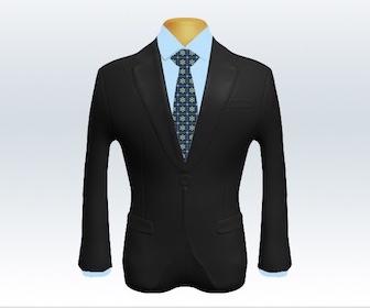 ダークグレースーツと小紋柄ネクタイの着こなし