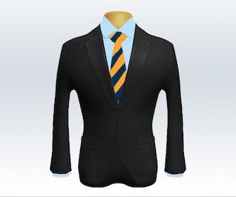 ダークグレースーツとストライプネクタイの着こなし