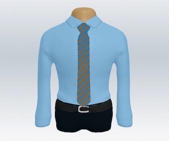 青ワイシャツの着こなし