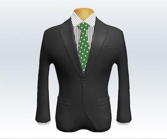 グレースーツとドット柄ネクタイの着こなし