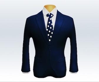 ネイビースーツとドット柄ネクタイの着こなし