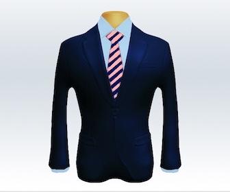 ネイビースーツとストライプネクタイの着こなし