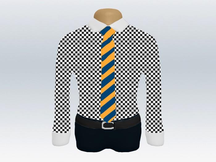 チェックシャツクレリック青黄色ストライプネクタイ