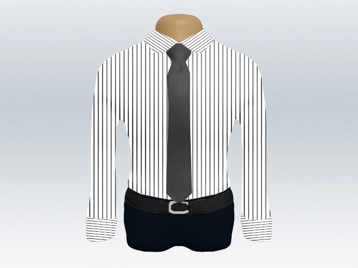 ストライプシャツグレー無地ネクタイ