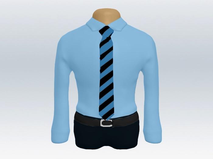 青ワイシャツ黒ブルーストライプネクタイ