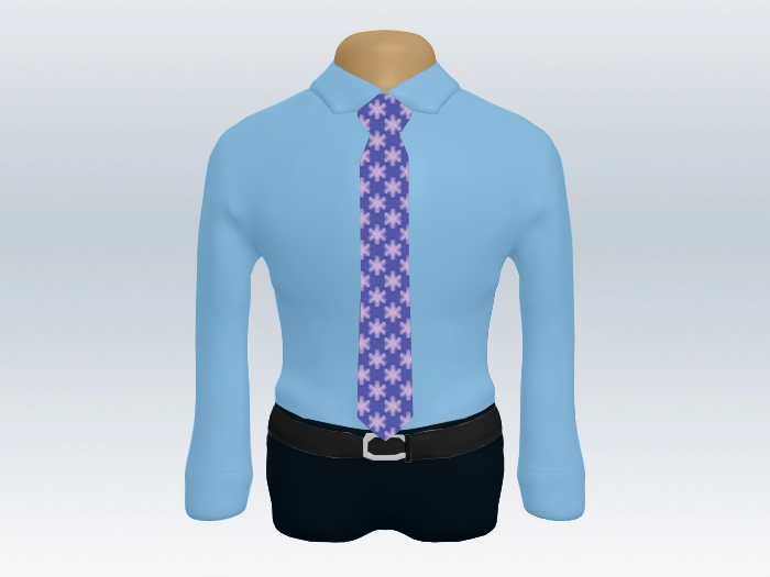 青ワイシャツパープル小紋柄ネクタイ