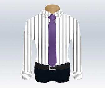 ストライプワイシャツと無地ネクタイの着こなし