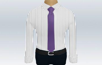 ストライプシャツ紫無地ネクタイ