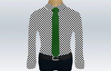 チェックシャツグリーン無地ネクタイ