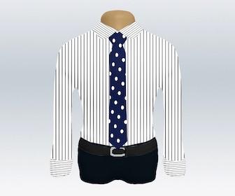 ストライプワイシャツとドット柄ネクタイの着こなし