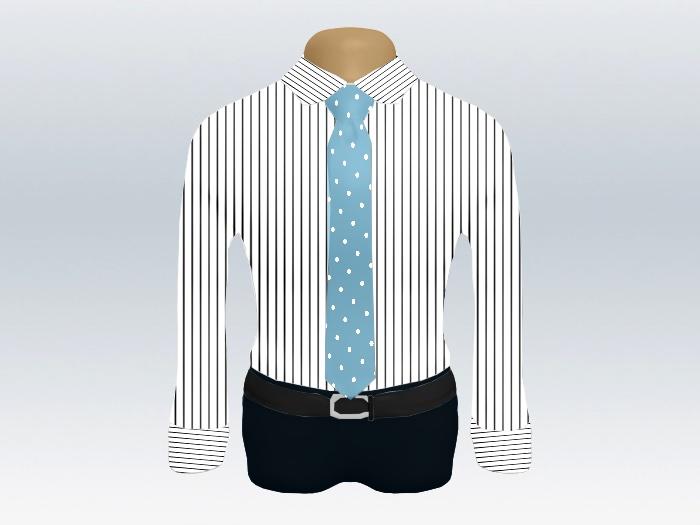 ストライプシャツ水色ドットネクタイ