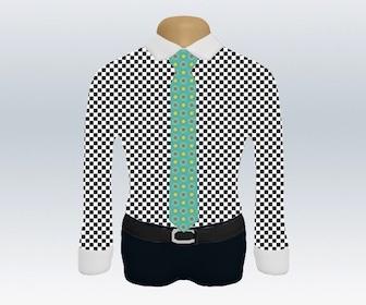 チェック柄ワイシャツと小紋柄ネクタイの着こなし