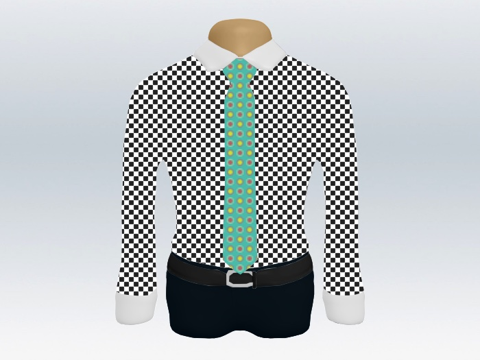 チェッククレリックシャツカジュアル小紋柄ネクタイ