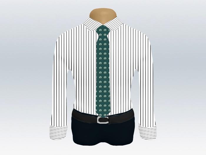 ストライプシャツ緑小紋柄ネクタイ