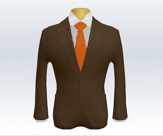 ブラウンスーツと無地ネクタイの着こなし