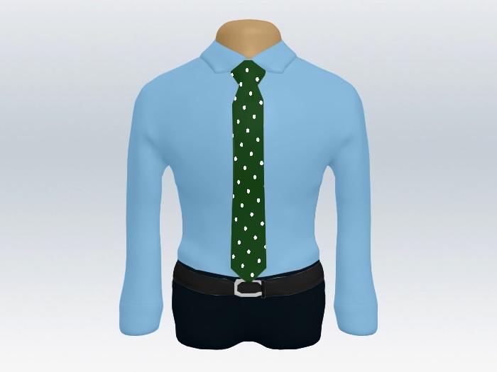 青ワイシャツグリーンドットネクタイ