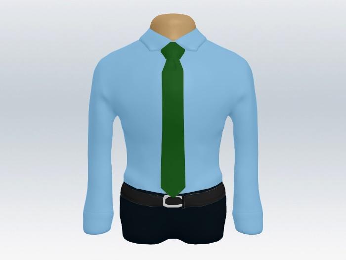 青ワイシャツグリーン無地ネクタイ