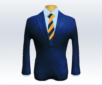 ライトネイビースーツとストライプネクタイの着こなし
