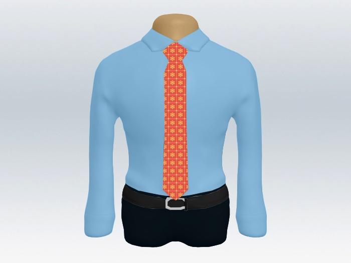 青ワイシャツレッド小紋柄ネクタイ
