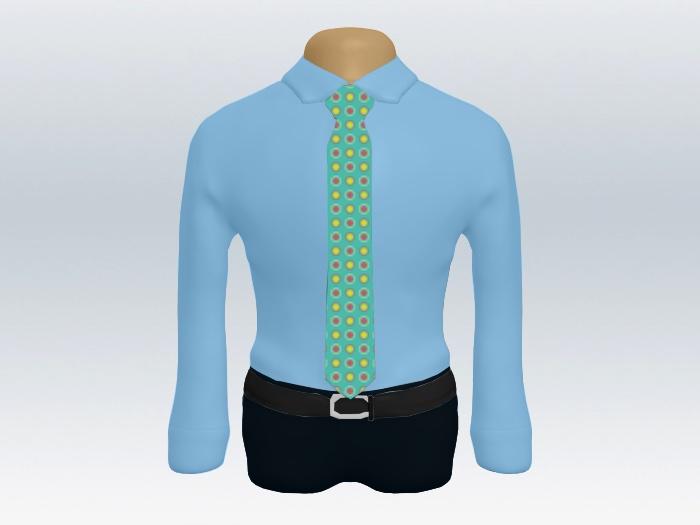 青ワイシャツカジュアル小紋柄ネクタイ