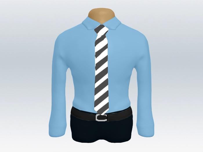青ワイシャツグレー白ストライプネクタイ