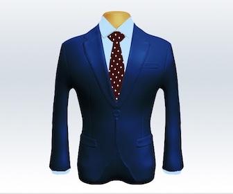 ライトネイビースーツとドット柄ネクタイの着こなし
