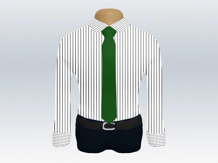 ストライプシャツ緑無地ネクタイ