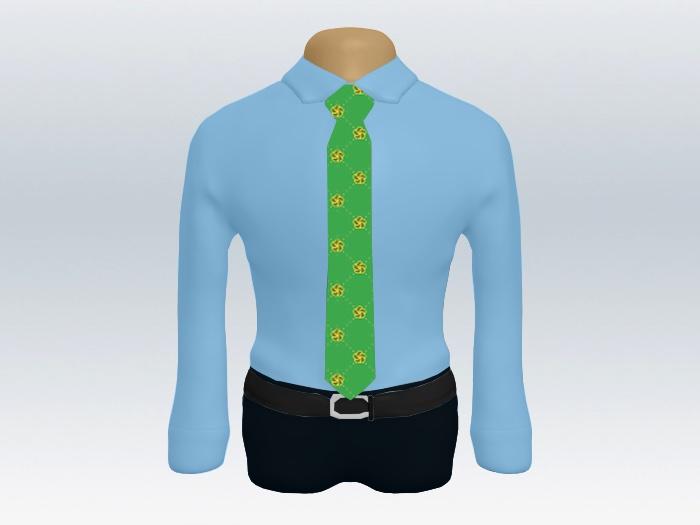 青ワイシャツライトグリーン小紋柄ネクタイ