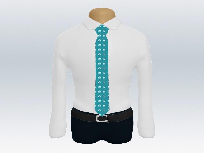 白ワイシャツブルー小紋ネクタイ