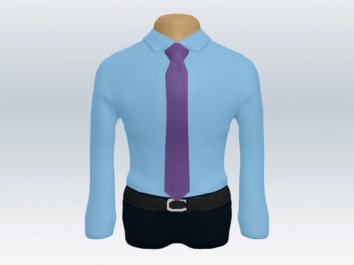 青ワイシャツパープル無地ネクタイ