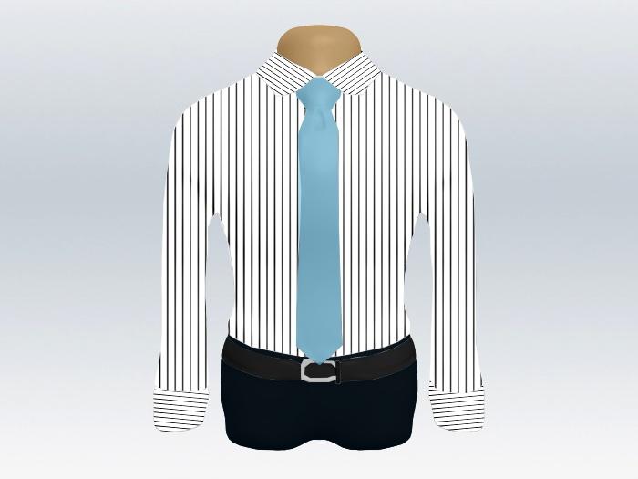 ストライプシャツ水色無地ネクタイ
