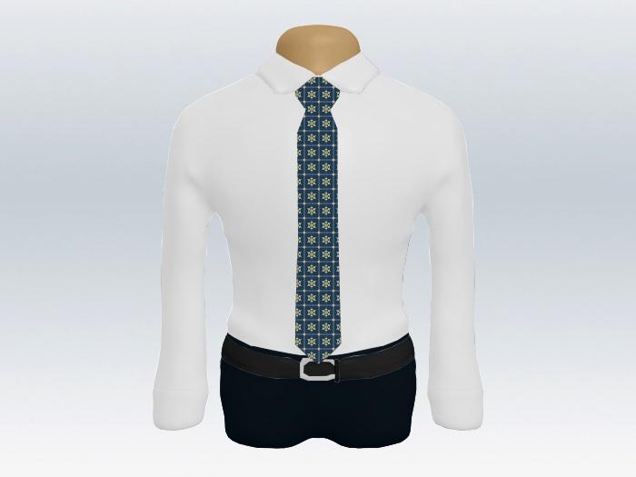 白ワイシャツネイビー小紋ネクタイ