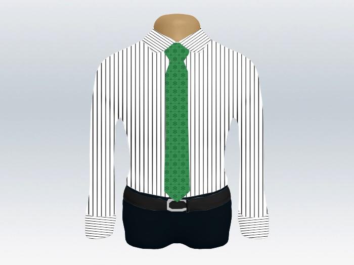 ストライプシャツ緑小紋柄ネクタイ2