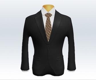 ダークグレースーツとドット柄ネクタイの着こなし