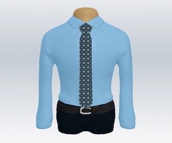 青ワイシャツと小紋柄ネクタイの着こなし