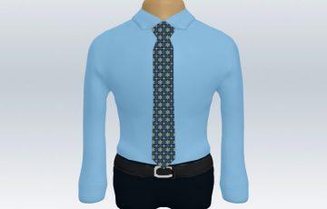 青ワイシャツブルー小紋柄ネクタイ