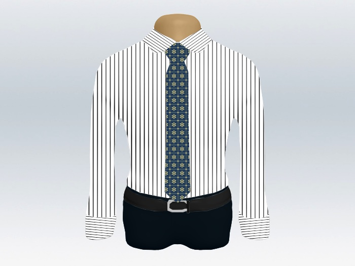 ストライプシャツ青色小紋柄ネクタイ