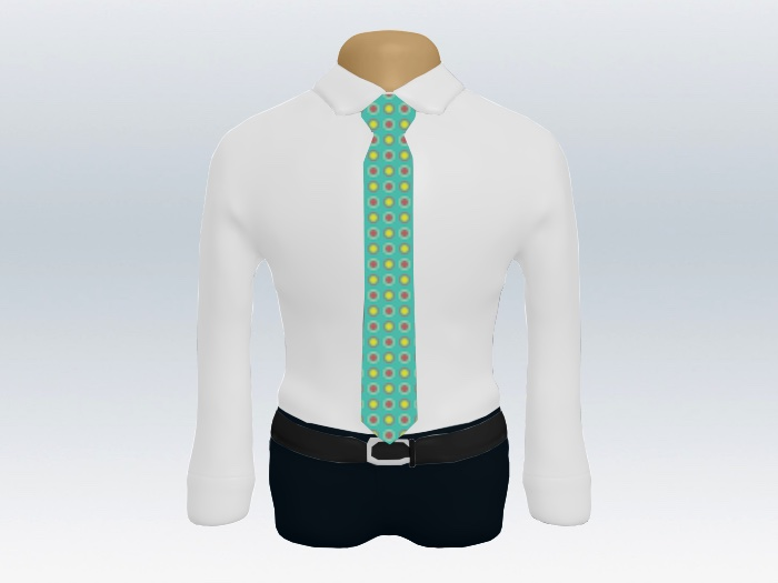 白ワイシャツカジュアル小紋ネクタイ