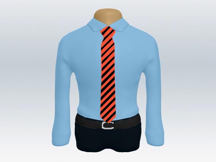 青ワイシャツ赤黒ストライプネクタイ