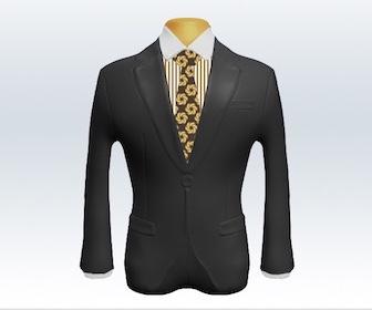 グレースーツと小紋柄ネクタイの着こなし